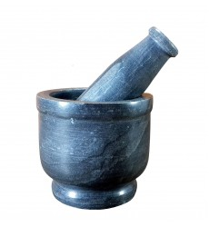 Aggarwal Crockery & Scientific Stores Black Marble Stone Mortar and Pestle Set 3 inch (Natural Stone)