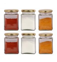 Aggarwal Crockery & Scientific Stores 280ml Square Fancy Glass Jar Set of 6
