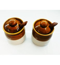 Aggarwal Crockery & Scientific Stores Pickle Jar Ceramic, 50 gm, Set of 2 Pieces with Wooden Spoon