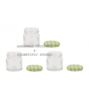 Aggarwal Crockery & Scientific Stores Round Glass Jar 50 ml Set of 3 Pieces