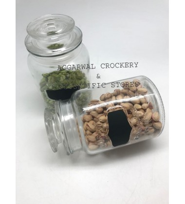 Aggarwal Crockery & Scientific Stores Glass Jar Chalkboard 1000ml -(Transparent)Pack of 1