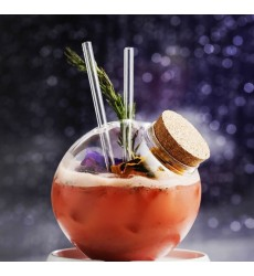 Closed Round Ball 5inch With 2 Glass Straws with Cork