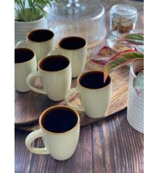 Aggarwal Crockery & Scientific Stores Mallorca Beige Color 250 ML Set of 6 Coffee Mug