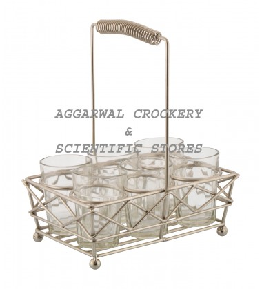 Aggarwal Crockery & Scientific Stores Glass Holder Silver with 6 Glasses