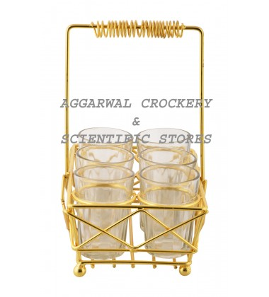 Aggarwal Crockery & Scientific Stores Glass Holder Yellow with 6 Glasses