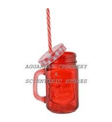 Circleware Glass Mason Jar , 500 ml, 1-Piece, Red