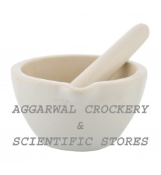 Aggarwal Crockery & Scientific Stores Ceramic Mortar & Pestle 3.5 inch