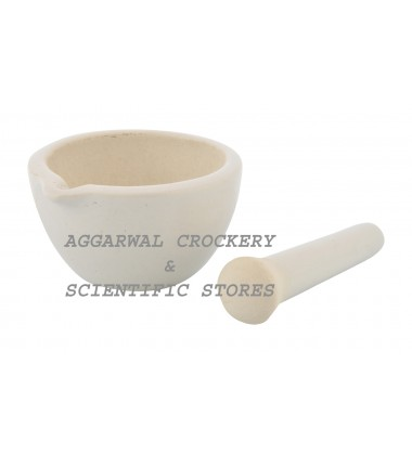 Aggarwal Crockery & Scientific Stores Ceramic Mortar & Pestle (2 inch, White)