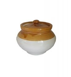 Aggarwal Crockery & Scientific Stores Pickle Jar Handi, 100 gm, White Brown