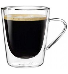 Aggarwal Crockery & Scientific Stores Glass Double Wall Mug with Handle Small 200ml Set of 2pc