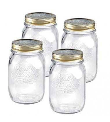 Bormioli Quattro Jars with Lid, Set of 4 , 500ml
