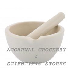 Aggarwal Crockery & Scientific Stores Ceramic Mortar & Pestle 3 inch