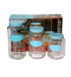 Circleware Vintage Mark & Store 3 Piece Chalkboard Canister Set With Light Blue Lids