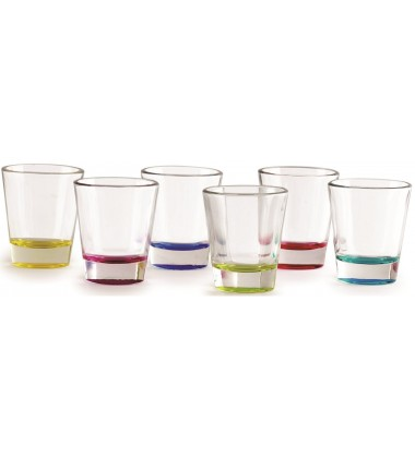 Circleware Edge With Style Multi Colored Bottom Shot Glasses, 30ml