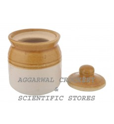 Aggarwal Crockery & Scientific Stores Ceramic Pickle Jar (Beige, Off-white, 50g) - Set of 2 Pieces