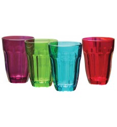 Circleware Overture Happy Multi Color Drinking Glasses cups Set, 7.75 Ounce, Set of 4