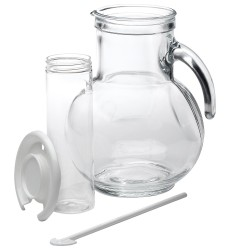 Bormioli Rocco Kufra Glass Jug with Ice Container and Lid, 2 Litres