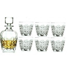 RCR Enigma 7 Piece Whisky Set Crystal Glass Decanter With Tumbler Glasses