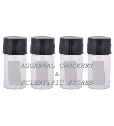 Aggarwal Crockery & Scientific Stores Media Bottle 10ml Borosilicate Glass (Pack of 4)