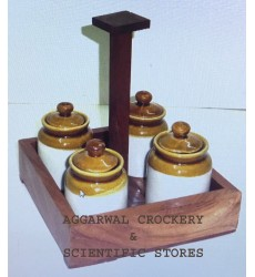 Aggarwal Crockery & Scientific Stores Pickle Jar Ceramic, Set of 4 Pieces With Wooden Stand