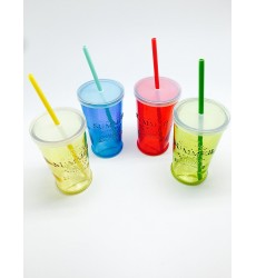 Glass Summer Party Cocktail Tumbler With Lid and Straw 490ml
