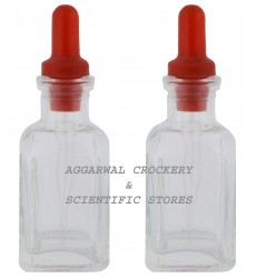 Aggarwal Crockery & Scientific Stores Glass Bottle with Dropper 30 ml, Clear (Pack of 2)