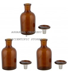 Aggarwal Crockery & Scientific Stores Reagent Narrow Mouth Bottle 125 ml, Amber Pack of 3