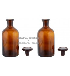 Aggarwal Crockery & Scientific Stores Reagent Narrow Mouth Bottle 1000 ml, Amber Pack of 2