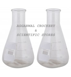 Aggarwal Crockery & Scientific Stores Conical Flask 100ml Borosilicate Glass (Pack of 2)