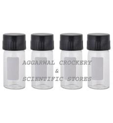 Aggarwal Crockery & Scientific Stores Media Bottle 15ml Borosilicate Glass (Pack of 4)