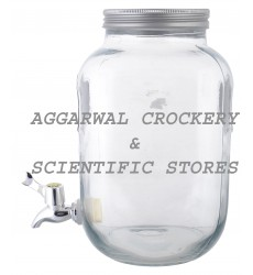 Aggarwal Crockery & Scientific Stores Beverage Glass Dispenser with Lid 4000ml (Chalkboard Type)