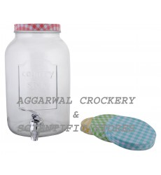 Aggarwal Crockery & Scientific Stores Beverage Glass Dispenser with Colour Check Lid 4000ml