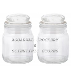 Aggarwal Crockery & Scientific Stores Glass Jar with Glass lid 100ml (Pack of 2)