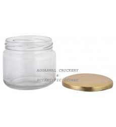 Aggarwal Crockery & Scientific Stores Wide Glass Jar with golden lid 280 (Pack of 2)