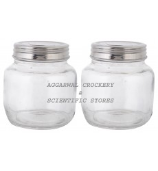 Aggarwal Crockery & Scientific Stores Glass Jar with S.S Lid 200ml (Pack of 2)