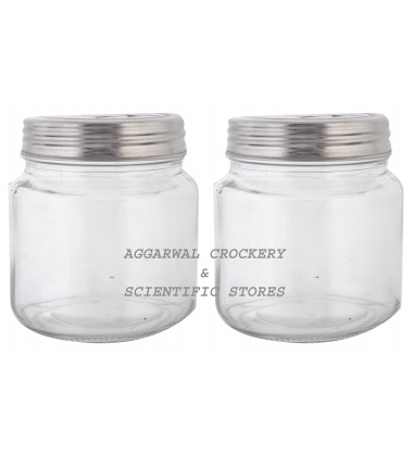 Aggarwal Crockery & Scientific Stores Glass Jar with S.S Lid 500ml (Pack of 2)
