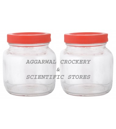 Aggarwal Crockery & Scientific Stores Glass Jar with Plastic Lid 200ml (Pack of 2)