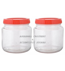 Aggarwal Crockery & Scientific Stores Glass Jar with Plastic Lid 500ml (Pack of 2)