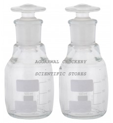 Aggarwal Crockery & Scientific Stores Reagent Bottle Narrow Mouth 100ml Borosilicate Glass (Pack of 2)