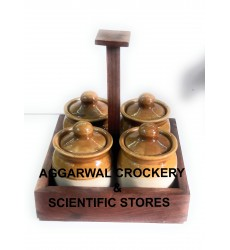 Aggarwal Crockery & Scientific Stores Pickle Jar Ceramic, 50 gm, Set of 4 Pieces With Wooden Stand