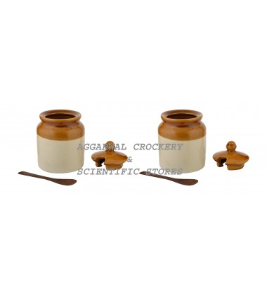 Aggarwal Crockery & Scientific Stores Pickle Jar with Spoon, 500 gm, Set of 4 Pieces with Wooden Stand