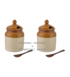 Aggarwal Crockery & Scientific Stores Pickle Jar with Spoon, 500 gm, Set of 2 Pieces with Wooden Stand