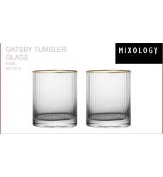 MIXOLOGY Ribbed Gold Rim Tumbler Glass Set of 6Pcs