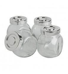 Aggarwal Crockery & Scientific Stores Glass Jar 150ml, Clear - Set of 4