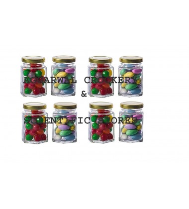 Aggarwal Crockery & Scientific Stores Hexagonal Glass Jar (220ml) Pack of 8