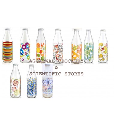 Aggarwal Crockery & Scientific Stores Multipurpose Glass Bottle, 1 L Milk/water/ juice bottle ( Made In Italy ) Mix DESIGN/COLOURS