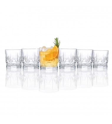 RCR Chic Luxion Crystal Whisky Tumbler Glasses, 12.3oz, Set of 6
